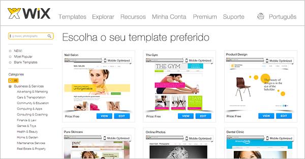 templates em html para propaganda e marketing wix
