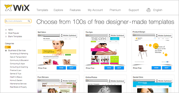 most popular website templates by wix
